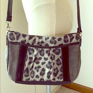 TIGNANELLO Gray Suede Leopard Print Crossbody Bag